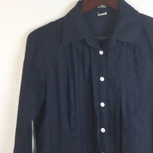 J. Crew Navy Pleated Slim Fit Button Down
